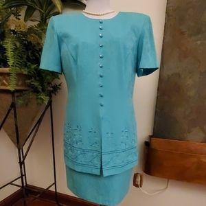 Karin Stevens Petites Aqua Dress - Size 10